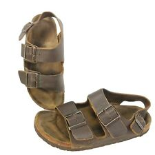 Birkenstock Sandals Leather Milano Brown Double Strap Slingback Shoes EU 37 US 6