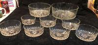 Vintage Arcoroc France Diamant 9 Piece Salad Bowl Set Clear Glass