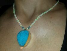 Stunning Blue Druzy with 20ct genuine Opal and Blue Topaz 14k necklace