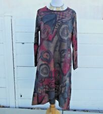 Morden Miss Women L Knit Dress Gray Red Green Geometric Design Long Sleeve