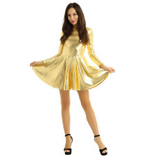 Women Wetlook Metallic Mini Short Pleated A-line Dress Cocktail Party Clubwear