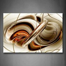 Framed Abstract Brown White Lines Wall Art Painting Canvas Print Modern Pictures