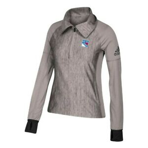 New York Rangers NHL Adidas Women's Climalite Ash Grey Vertical Heather Jacket