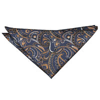 Navy & Gold Hanky Handkerchief Woven Floral Cypress Paisley Accessory by DQT
