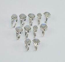 WHOLESALE 11PC925 SOLID STERLING SILVER WHITE RAINBOW MOON STONE RING LOT wU782