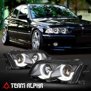 Fits 1999-2001 BMW E46 3-Series{DUAL 3D LED HALO}Black Projector Headlight Lamp