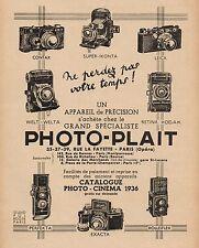 Y9311 Apparecchi fotografici PHOTO-PLAIT - Pubblicità d'epoca - 1936 Old advert