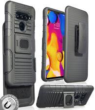 Black Magnet Grip Case Rugged Cover Stand + Belt Clip Holster for LG V40 ThinQ