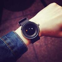 Fashion Casual Men's Women Stainless Steel Quartz Movement Wrist Watch Black UP