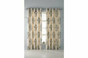 """Collection Aimee Floral Line Curtain Set 116 x 137cm 46 x 54"""" Eyelet Natural"""