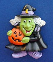 Russ PIN Halloween Vintage WITCH UGLY Jack O Lantern PUMPKIN Holiday Brooch