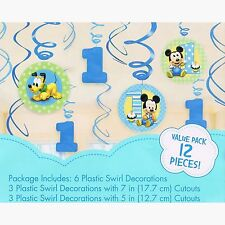 Mickey Mouse 1st Birthday Supplies Foil Swirl Hanging Decoration Pack of 12