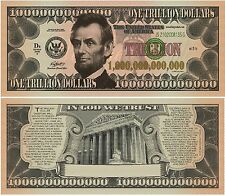 Lincoln Trillion Dollar Bill Collectible Funny Money Gospel Tract Novelty Note