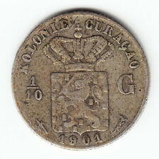 CURACAO 1/10 Gulden 1901 KM36 Ag.640 1-yr type Below average Minted 300,000 RARE
