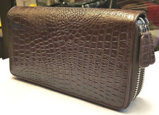 GENUINE CROCODILE WALLETS SKIN LEATHER BELLY TWO ZIPPER WOMEN'S CLUTCH BROWN BAG