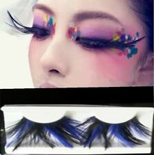 Navy Blue Black long Feather Exaggerated Party Fake False Eyelashes Eye lashes