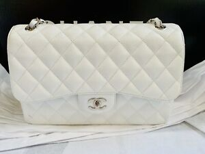 Authentic CHANEL White Quilted Caviar JUMBO Double Flap Bag Silver Hardware &Box