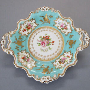 "Antique 1800s English RIDGWAY Porcelain HP 10"" Dessert Plate FLOWERS GILT Paste"