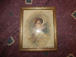 Antique ca 1910 Americana Watercolor Portrait of a Southern Belle Folk Art