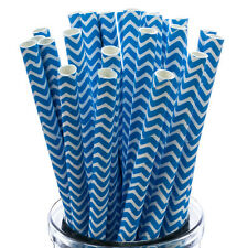 Paper Drinking Straws x25 Blue and White ZigZag Pattern Cakepop Stick