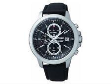 Prezzo ORIGINALE £ 199.99 Brand New Seiko Uomo Quadrante Nero Chrono cinturino orologio.