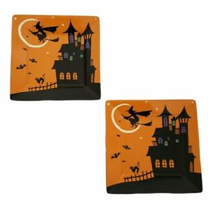 222 Fifth HALLOWEEN Haunted House Witch Appetizer Plates Set of 2
