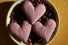 Primitive Valentines Pink Cutter Embossed Quilt Heart Ornies, Set of 3