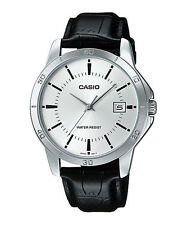 Casio MTP-V004L-7A Men's Stainless Steel Leather Band Silver Dial Date Watch