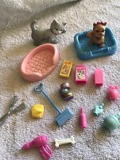 Vintage Barbie Doll Kelly Sweet Sounds Pet Shop Cat Dog Bed Food Accessories