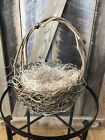 Rustic Grapevine Triple Twisted Twig Handle Round Easter Basket W/ Excelsior