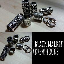 FREE HOOK 8 x Mixed Dreadlock Beads Silver Tibetan dread lock cuff thick metal
