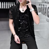 Men's Punk Gothic Shirt Mesh Sequins Skull Open Cardigan Short Sleeve Tops