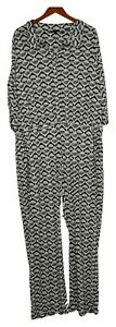 IMAN Global Chic Women's Plus Jumpsuit 1X Printed Wide-Leg Belted White 737121