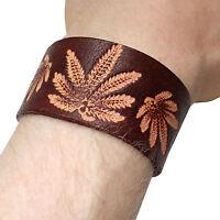 Brown Leather Cannabis Bracelet Wristband Bangle Mens Womens Ladies Jewellery