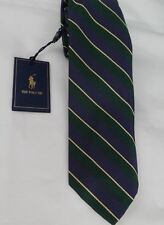 POLO Ralph Lauren Neck Tie 100% Silk Hand Made in Italy Navy Green Golden Stripe