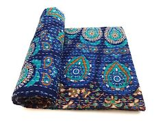 Mandala Kantha Quilt Indian Handmade Cotton Bedspread bed Throw Bedding Cover