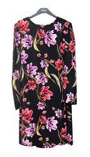 Marks & Spencer Black Floral Print Dress Size 14 Long Sleeves With Sash Belt