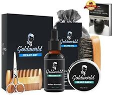 Beard Growth Enhancer Kit Oil Balm Wax Brush Scissors Comb in Bag