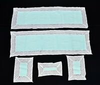2 Vintage Moss Green Linen w White Lace Table Runners Matching 3 Pc Dresser Set