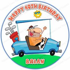 Personalised Golf Golfer Man Buggy Cart Edible Icing Birthday Party Cake Topper