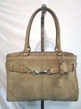 Coach #8A71 Hamptons Large Beige Tan Suede & Leather Satchel Tote Handbag