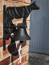 Large Cast Iron Hanging Cow Door Bell Vintage Garden Gate Farm Rustic Antique