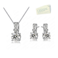 Gold Plated Set Earrings Pendant Necklace made with Swarovski Crystals Gift Box