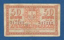 AYUNTAMIENTO DE ALICANTE -- 50 CENTIMOS ( 1937 ) -- EBC- -- SERIE B .