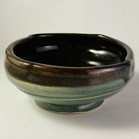 Studio Art Pottery Bowl Green Brown Wheel Thrown Handmade Signed TDS 2015