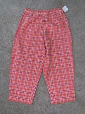 NWT New Women's Susan Bristol Pink White Plaid Cropped Capris Size 6