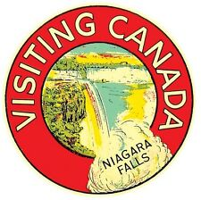 Visiting Canada  Niagara Falls   Vintage - Looking  Travel Decal Sticker Label