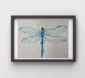 Large new Elle Smith original signed watercolour art painting of a Dragonfly