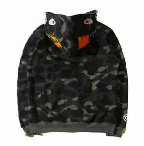 *Bape A Bathing Ape Full Zipper Shark Jaw Red Camo Hoodie Sweatshirt Coat Jacket