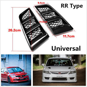 Universal Black ABS RR Type Hood Vents Scoop Bonnet Air Vents Air Flow Vent Duct